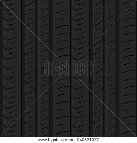 Motor Tire Tracks Vector Illustration. Seamless Automotive Pattern Useful For Poster, Print, Flyer,