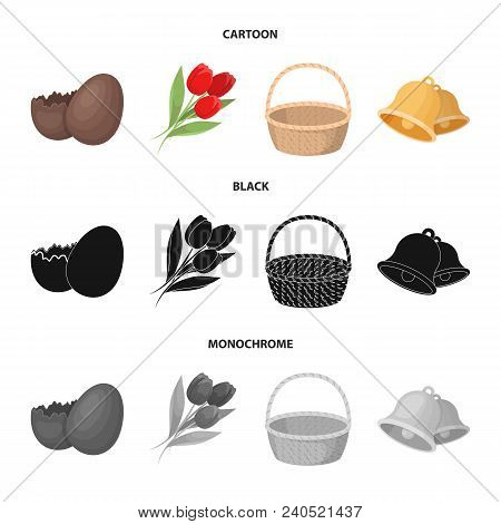 Chocolate Egg, Bells, Basket And Flowers.easter Set Collection Icons In Cartoon, Black, Monochrome S