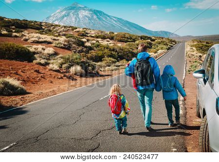 Family Travel By Car-father With Kids On Road In Mountains, Vacation With Kids