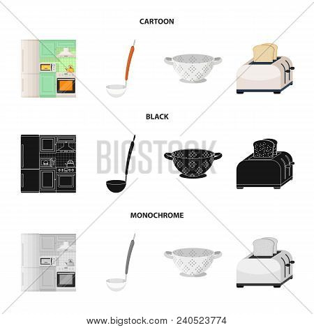 Kitchen Equipment Cartoon, Black, Monochrome Icons In Set Collection For Design. Kitchen And Accesso