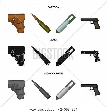 Holster, Cartridge, Air Bomb, Pistol. Military And Army Set Collection Icons In Cartoon, Black, Mono