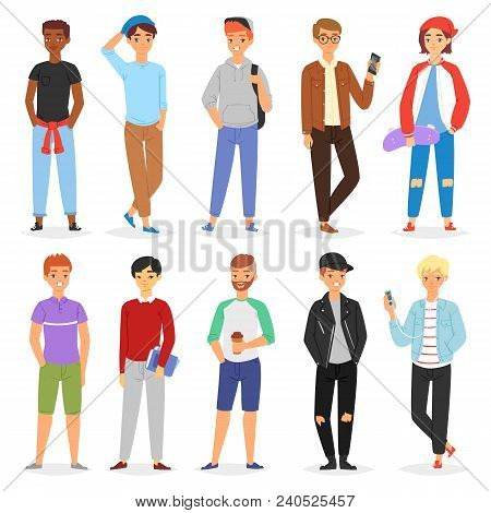 Teenage Boy Vector Young Male Person Character And Handsome Boyfriend Illustration Boyish Set Of You