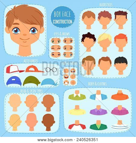 Boy Face Constructor Vector Kids Character And Guy Avatar Creation With Head Lips Eyes Illustration