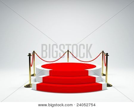 White podium on grey background
