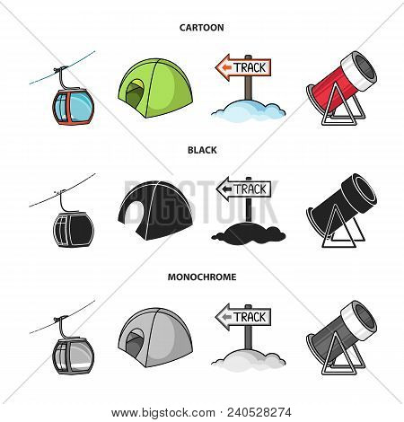 Funicular, Tent, Road Sign, Snow Cannon. Ski Resort Set Collection Icons In Cartoon, Black, Monochro