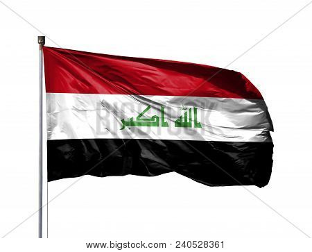 National Flag Of Iraq On A Flagpole, Isolated On White Background.