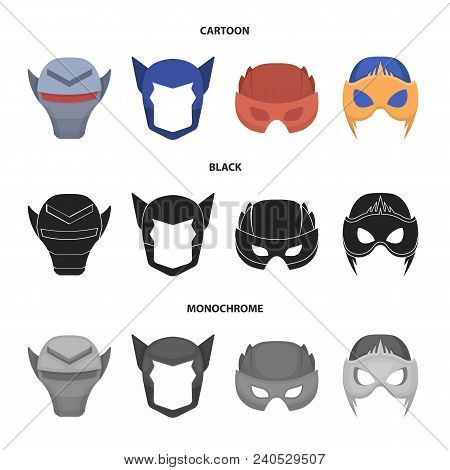 Helmet, Mask On The Head.mask Super Hero Set Collection Icons In Cartoon, Black, Monochrome Style Ve