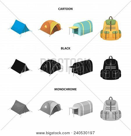 Backpack And Other Kinds Of Tents.tent Set Collection Icons In Cartoon, Black, Monochrome Style Vect