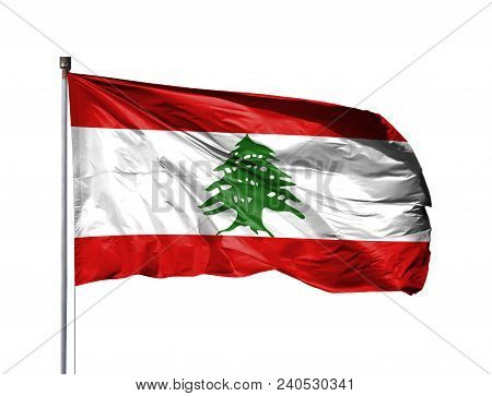 National Flag Of Lebanon On A Flagpole, Isolated On White Background.