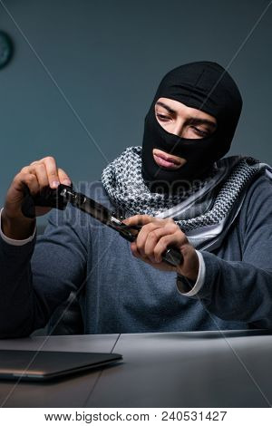 Terrorist burglar with gun asking for money ransom