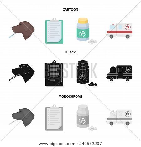 Hospital, Veterinarian, Dog, Thermometer .vet Clinic Set Collection Icons In Cartoon, Black, Monochr