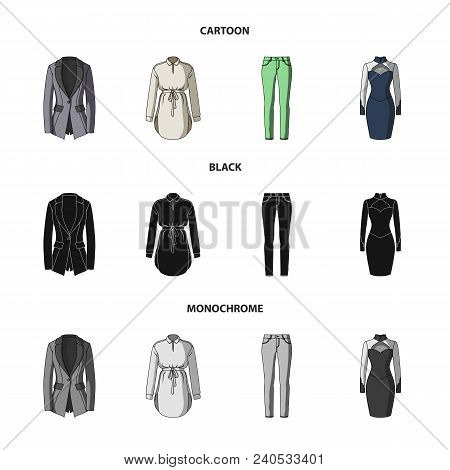 Women Clothing Cartoon, Black, Monochrome Icons In Set Collection For Design.clothing Varieties And