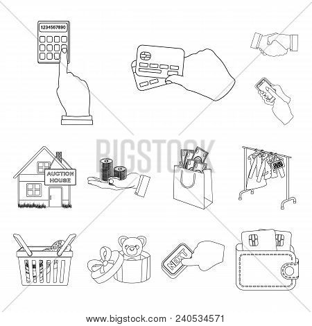 E-commerce And Business Outline Icons In Set Collection For Design. Buying And Selling Vector Symbol