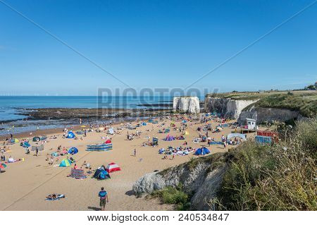 Botany Bay, Kent, United Kingdom - August 14, 2016 : Sunny Weather Brought Tourists And Visitors To