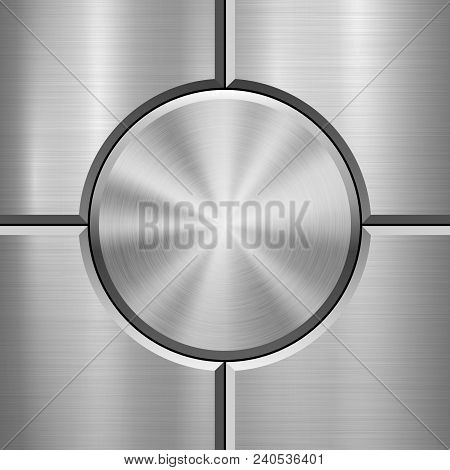 Metal Technology Background With Abstract Bevels And Polished, Brushed Texture, Chrome, Silver, Stee