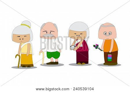 Grandfather And Grandma Wear Thai Dress. Going To Make Merit To The Temple. Holding Flowers, Rice Bo
