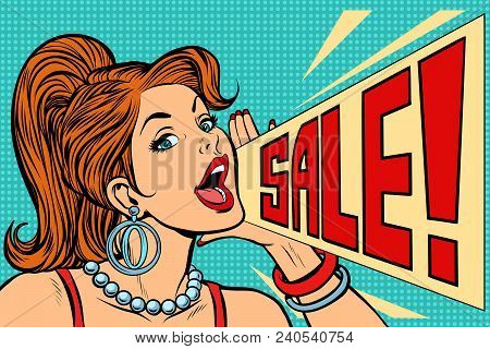 Woman Announcing Sale. Pop Art Retro Vector Illustration Comic Cartoon Kitsch Vintage Drawing