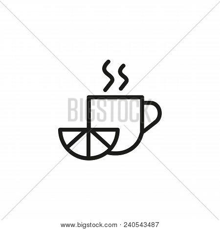 Hot Tea With Lemon. Flat Thin Line Illustration. Remedy, Treatment, Cure. Flu Treatment Concept. For