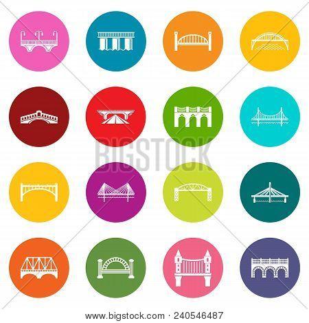 Bridge Icons Set Vector Colorful Circles Isolated On White Background