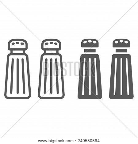 Salt And Pepper Shaker Line And Glyph Icon, Kitchen And Cooking, Spice Sign Vector Graphics, A Linea