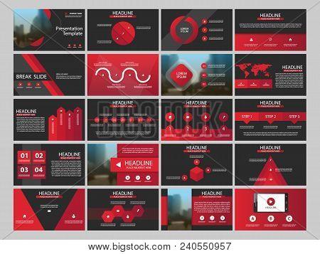 Red Abstract Presentation Templates, Infographic Elements Template Flat Design Set For Annual Report