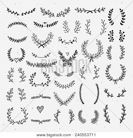 Lovely Laurels Collection. Beautiful Hand Drawn Wreaths And Floral Laurels Graphic Elements For Desi