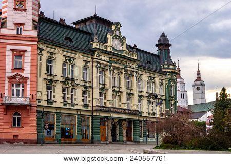 Krnov, Czech Republic - May 1, 2018: Art Nouveau Building A Bank (sportitelna) At Hlavni Namesti In