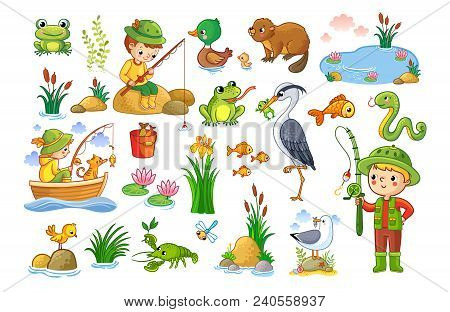 Vector Set On A Forest Children Theme.