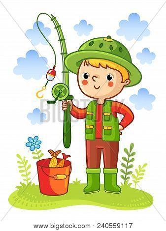 Young Boy Was Going Fishing.