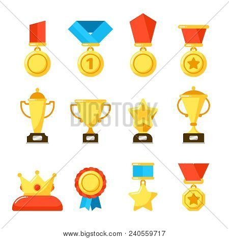 Sport Winner Trophy Award, Gold Championship Goblet And Awarding Reward Cup. Golden Awards For Rewar