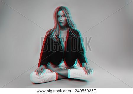 Girl Model With Scandinavian Appearance And Sports Figure Dressed In White Photo Processed In The St