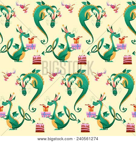 Birthday Dragon. Dragon And A Bird Bearing Cake With Candle And A Gift In A Box. Seamless Background