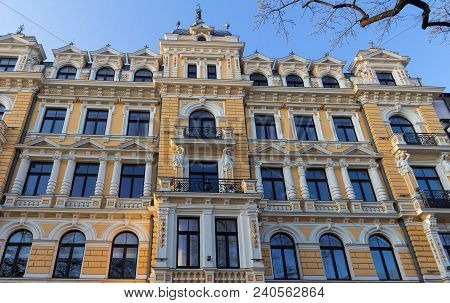 Photo Of A Building Facade In Riga, Capital Of Latvia. This Building Is An Example Of Art Nouveau Ar