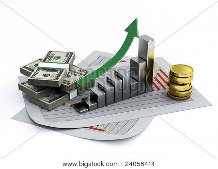 business graph 3d poster
