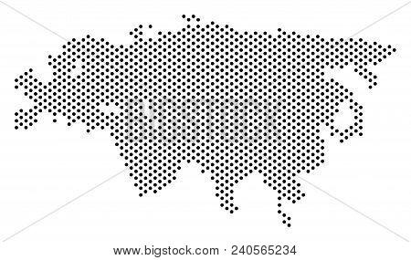 Dot Eurasia Map. Vector Geographic Scheme. Cartographic Composition Of Eurasia Map Composed With Sph