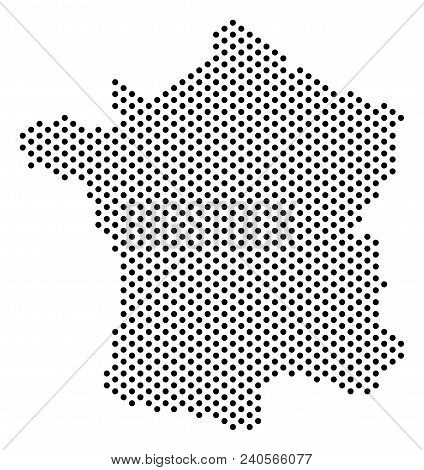 Dotted France Map. Vector Territory Scheme. Cartographic Composition Of France Map Done From Small C