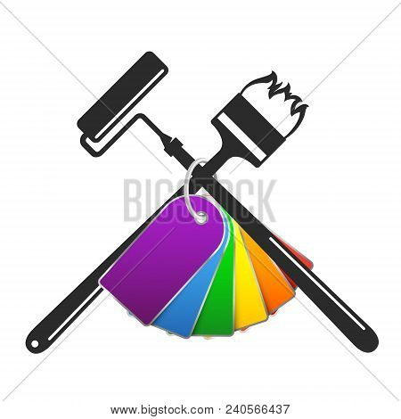 Brush And Roller With Paint Palette Symbol For Painting