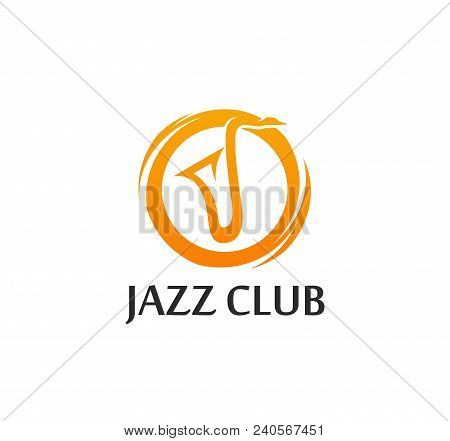 Logo For Jazz Club In Golden Color With Sax Silhouette. Vector Eps10 Illustration In Flat Style Isol