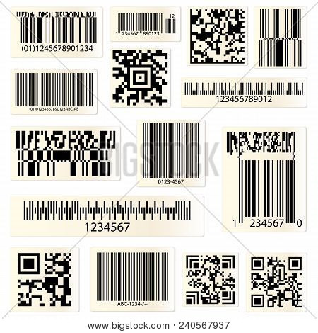 Set Of Isolated Barcodes And Qr Codes For Hyperlinks. Cellular Phone Or Smartphone Scanning Technolo