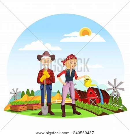 Old Man Farmer With Spade Near Fence And Woman In Bandana Watering Beds Or Ridge. Rural Farm With Ba