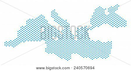 Dotted Mediterranean Sea Map. Vector Geographical Plan. Cartographic Pattern Of Mediterranean Sea Ma