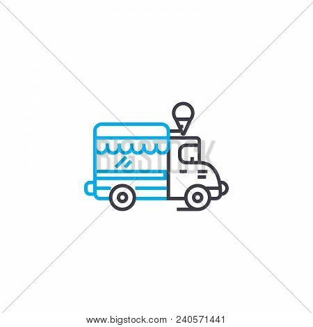 Commercial Vehicle Vector Thin Line Stroke Icon. Commercial Vehicle Outline Illustration, Linear Sig