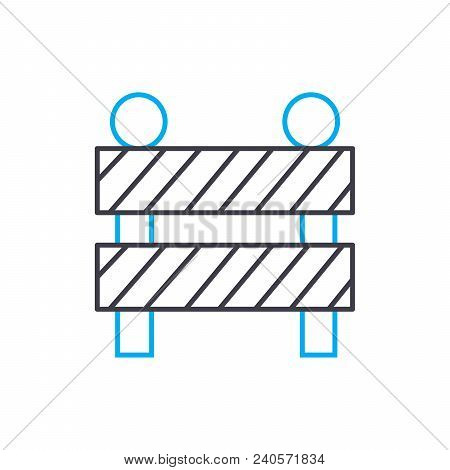 Construction Fence Vector Thin Line Stroke Icon. Construction Fence Outline Illustration, Linear Sig