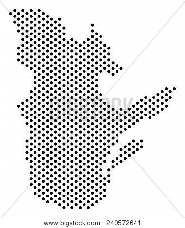 Pixel Quebec Province Map. Vector Territory Scheme. Cartographic Pattern Of Quebec Province Map Crea
