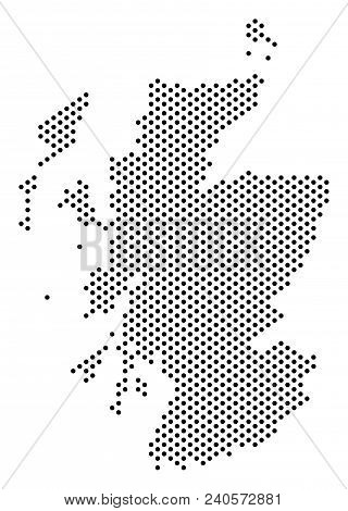 Dot Scotland Map. Vector Territory Plan. Cartographic Concept Of Scotland Map Combined Of Spheres.
