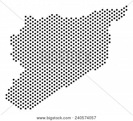 Dotted Syria Map. Vector Geographic Plan. Cartographic Composition Of Syria Map Combined From Small