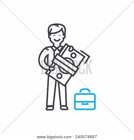 Employees' Salary Vector Thin Line Stroke Icon. Employees' Salary Outline Illustration, Linear Sign,