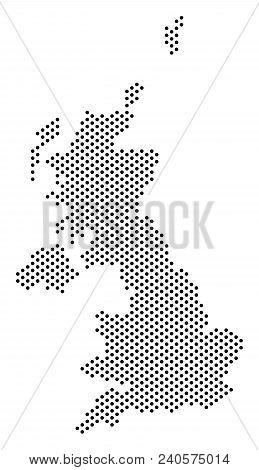 Dot United Kingdom Map. Vector Geographic Scheme. Cartographic Concept Of United Kingdom Map Organiz