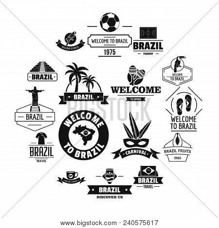 Brazil Travel Logo Icons Set. Simple Illustration Of 16 Brazil Travel Logo Vector Icons For Web