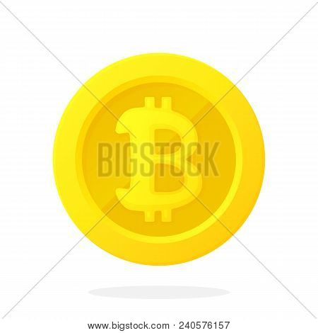 Vector Illustration In Flat Style. Gold Coin With Bitcoin Sign. Cash Money. Symbol Of Business, Econ